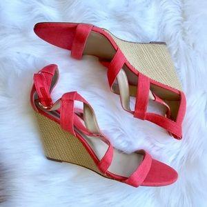 Ann Taylor Pink Woven Summer Wedges